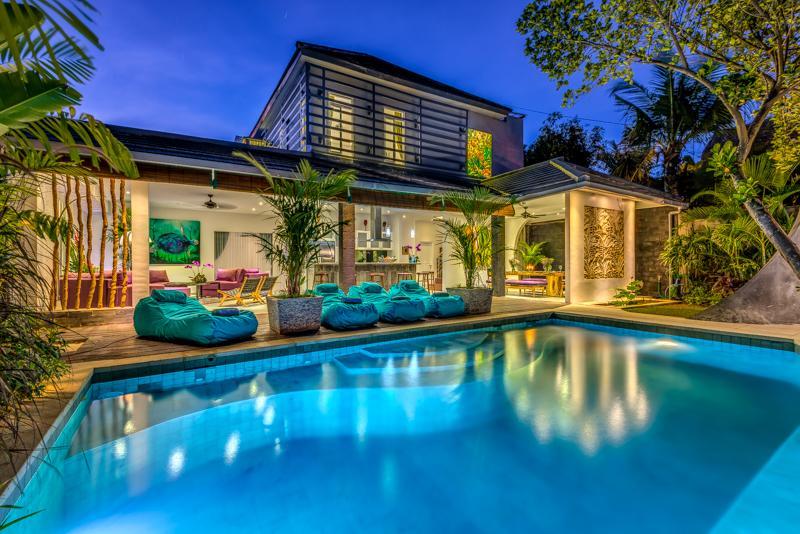Bali villa at night